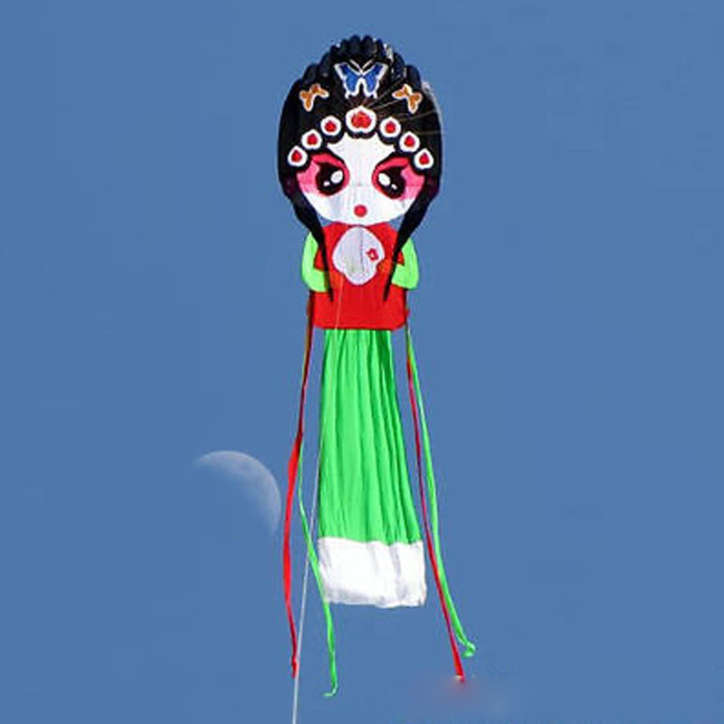 8M Soft Parafoil Kite Single Line Ripstop Nylon Kite Pretty Chinese Opera Actress Traditional Kites new 3d 75ft tube shaped parafoil octopus kite soft huge 23meters kite single line kite