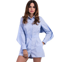 2017 Spring New Arrival Blouse Sky Blue Playsuit Women Sexy Open Back Batwing Sleeve Jumpsuit Rompers