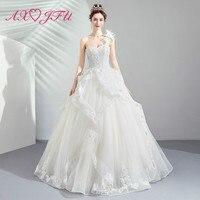 AXJFU luxury Dream Flowers One shouldered Bride Wedding dress Dinner Annual Party princess ruffles white Wedding Dress 1888