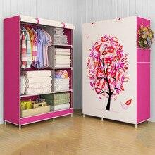 Giantex pano guarda roupa para roupas tecido dobrável armário de armazenamento armário portátil quarto móveis para casa