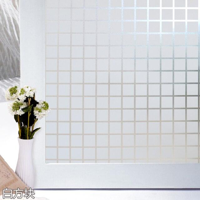 45x200 cm PVC folie vierkante patroon opaque glas woonkamer badkamer ...