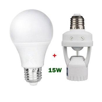 Супер яркая светодиодная лампа E27 15 Вт 220 В + адаптер для лампы, держатель для лампы с датчиком движения, светодиодная лампа Bombilla 220 в E27 сенсор