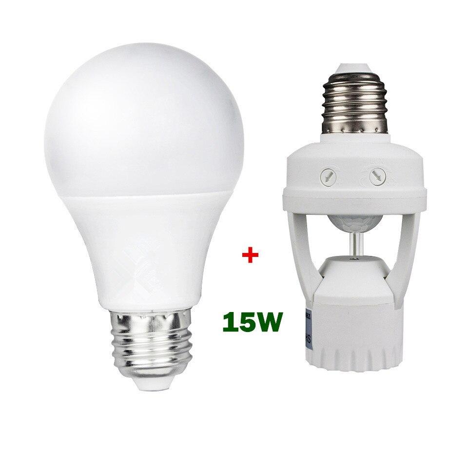 Super Bright 15W 220V E27 Led Bulb Lamp + Lamp Base Holder PIR Motion Sensor with light Control Switch Bulb Socket Adapter