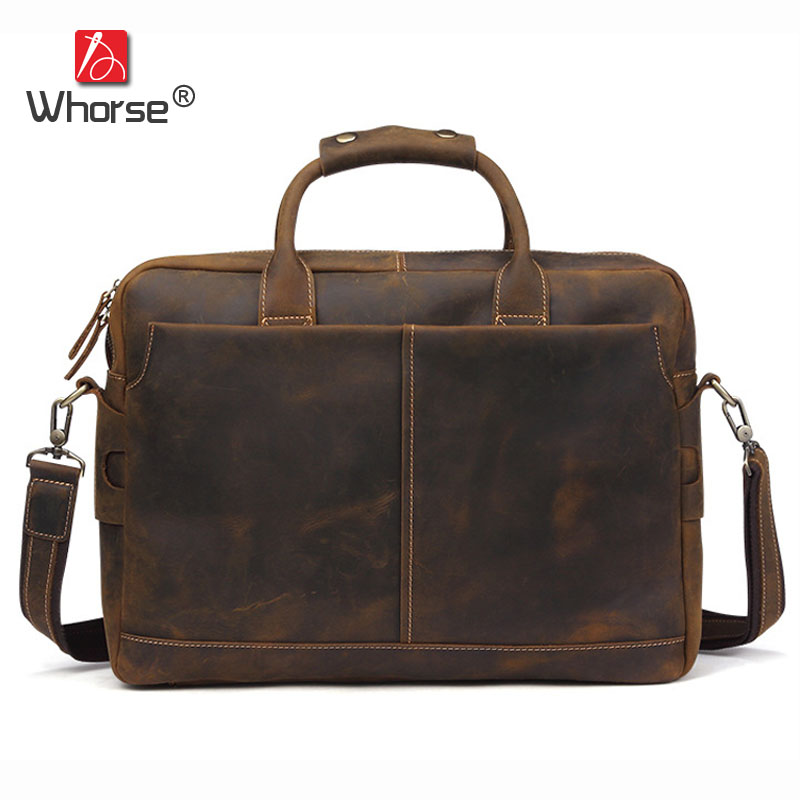 Brand Vintage Crazy Horse Leather Business Briefcase Men 17 inch Laptop Bag Cowhide Male Satchel Crossbody Messenger Bags W0050 famous brand vintage casual crazy cowhide leather messenger bag men satchel crossbody shoulder business briefcase bag w0960