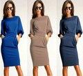 Khaki Solid Slim Brief Pencil Dress Modest&Elegant Bow Sashes Dress Three Quarter Lantern Sleeve O-neck Purified CottonDressAX61