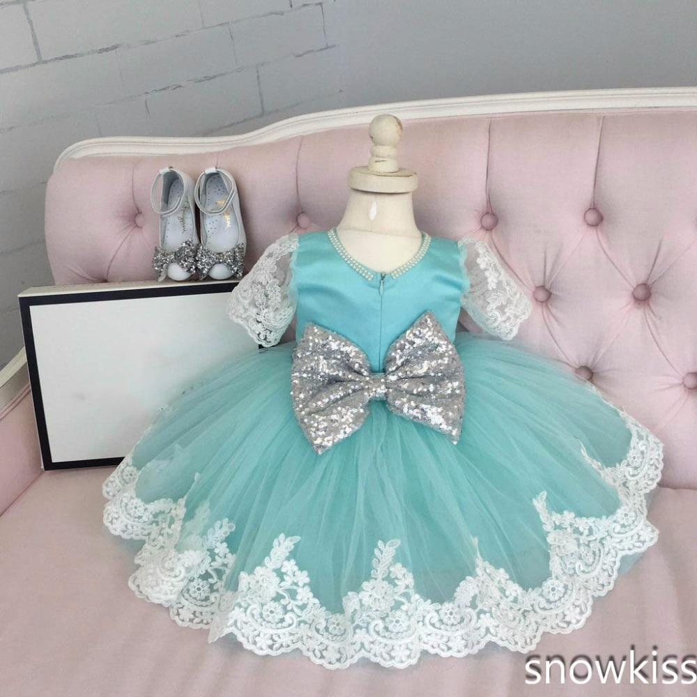 Sky blue cute flower girl dress with bow lace appliques short sleeve sparkly sequins toddler 1st birthday party sweet outfits
