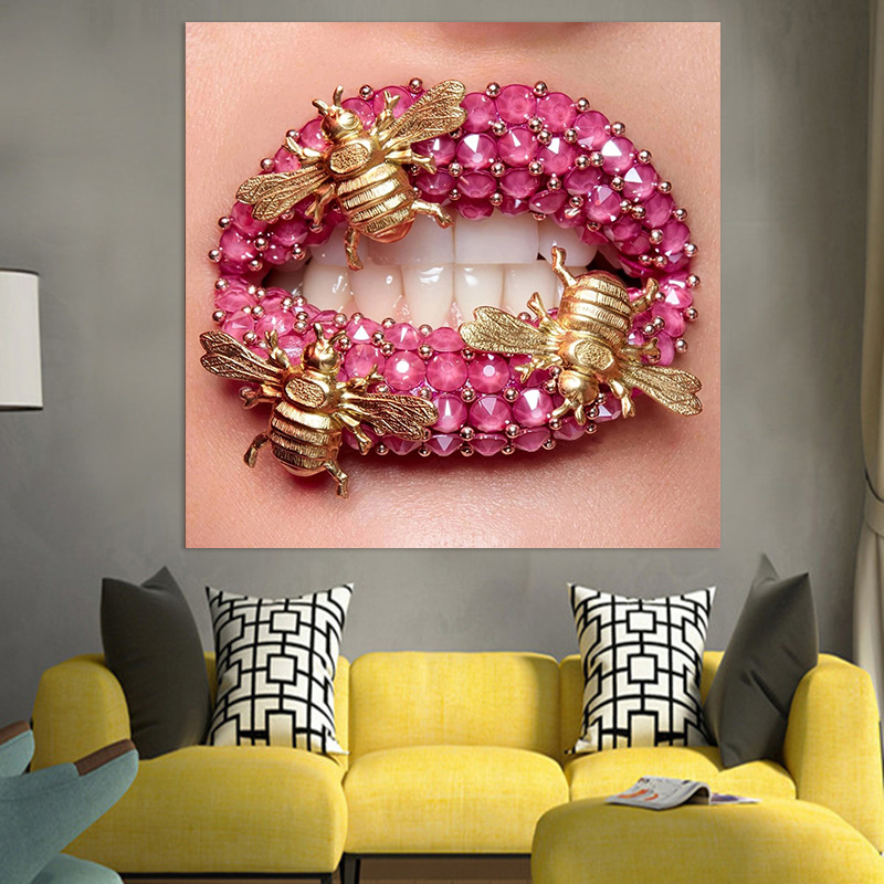 Drop Shipping Canvas Wall Art Pink Lip Beauty Makeup Poster And Print Pictures For Room Tableau Art Wall Painting Home Decor