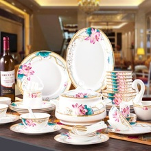 Guci Jingdezhen ceramics 60 PIECES of household type and bone china tableware suit bowl set wedding gifts