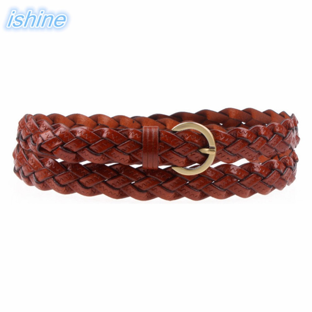 110cm Fashion Women Braided Cowskin Leather Casual   Belt   Alloy Buckle Waist   Belt   Black Waistband   Belt   For Dress/Casual Pant/Jeans