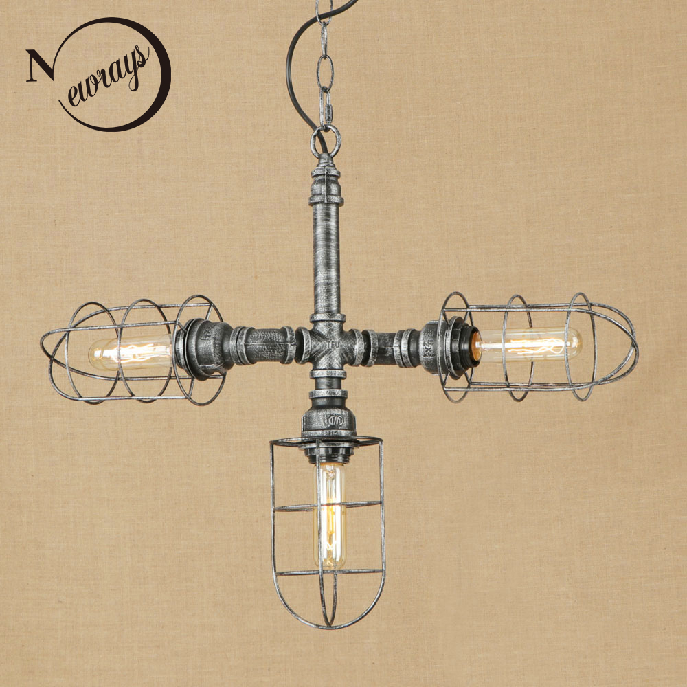 Vintage iron painted pendant lamp LED 3 lamp Pendant Light Fixture E27 110V 220V For Kitchen Lights bed room study dining room vintage iron painted brown hanging lamp led lamp pendant light fixture e27 220v for kitchen lights parlor dining room bed room