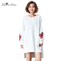 BelineRosa Korean Fashion Women Casual Clothing 3XL 4XL Plus Size Dresses Shirt Embroidery Fish Autumn Loose