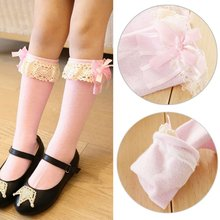 Princess Girls Kids Knee High Length Lace Bow School Stockings 6 Colors(China)
