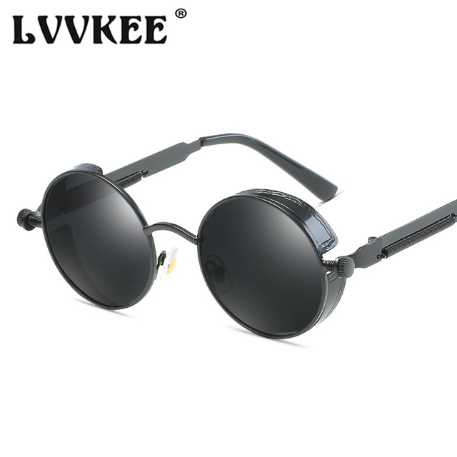 LVVKEE Round Metal Polarized Sunglasses Gothic Steampunk Men Women Fashion Glasses Brand Designer Retro Vintage Sunglasses UV400