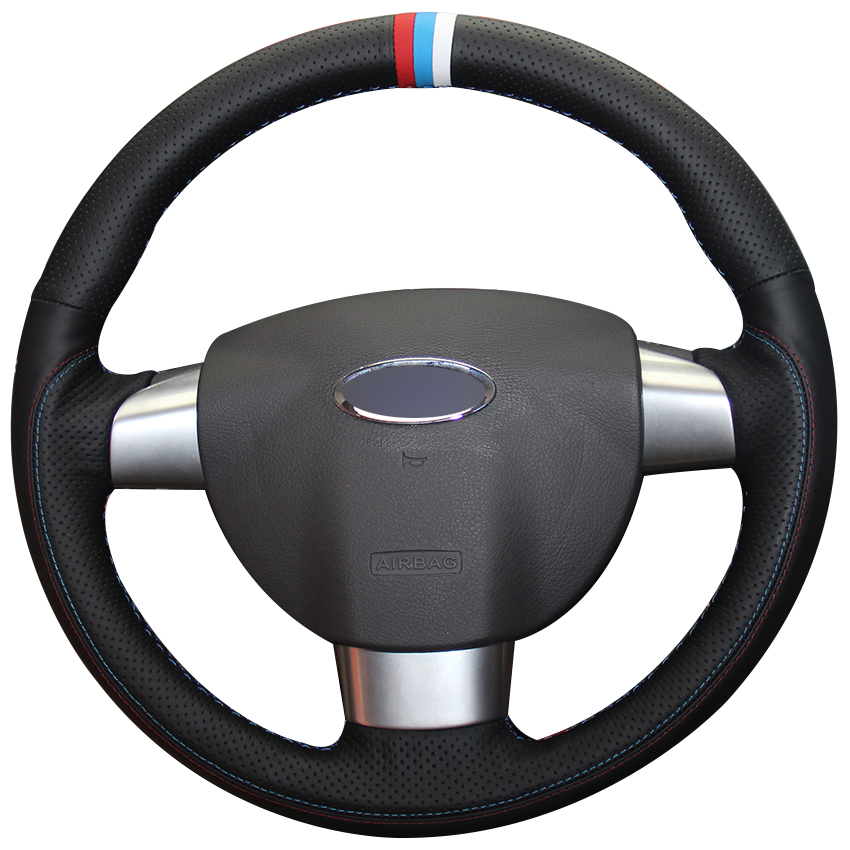 Black Natural Leather Red Light Blue White Marker Car Steering Wheel Cover for Ford Focus 2