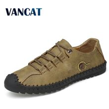 2019 New Fashion Leather Spring Casual Shoes Men's Shoes Handmade Vintage Loafers Men Flats Hot Sale Moccasins Sneakers Big Size