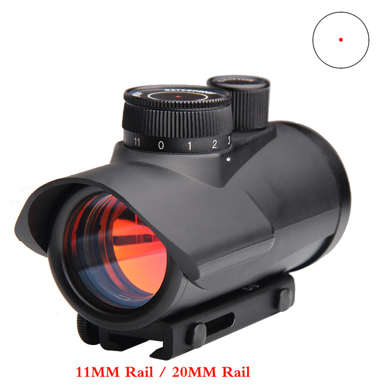 Hunting Holographic 1x30MM Red Dot Sight with 11 Brightness Adjustment fit 11mm & 20mm Rail Mount for Airsoft RL5-0040-02