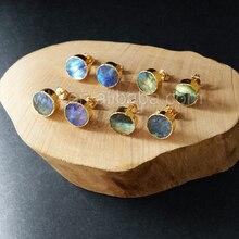 WT E151 Bella di vendita calda sparkly naturale labradorite rotondi della vite prigioniera di pietra con oro immerso multi color pietra orecchini di modo