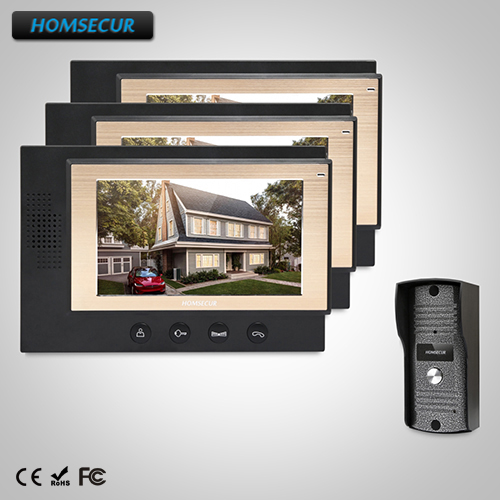 HOMSECUR 7 Video&Audio Home Intercom with Metal Case Camera for House/Flat (TC031+TM701-B)