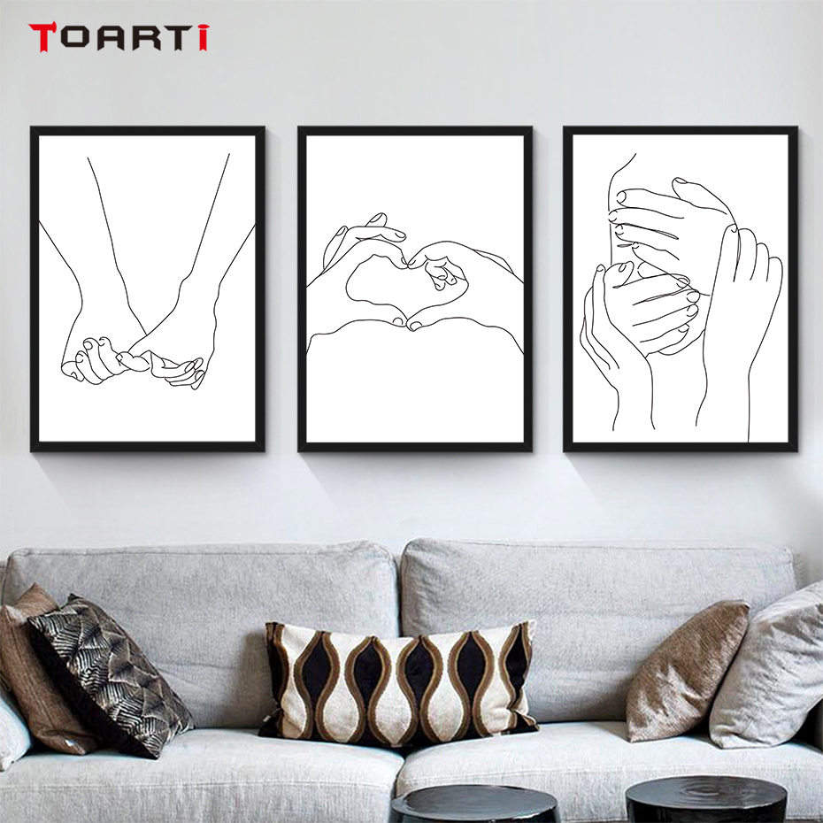 Realistic Art Gesture Drawing Paintings Wall Posters Minimalist Black&White  Prints Bedroom Mural Nordic Home Decoration Pictures