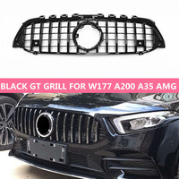 NEW GT Style Grill For Mercedes A Class W177 A180 A200 A260 A35 AMG A45 AMG GTR Look Chrome/Black ABS Front Bumper Grille 2018+