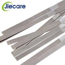 12 adet/kutu diş Metal parlatma çubuğu şerit tek taraflı elmas zımpara yüzeyi ortodontik IPR elmas aşındırıcı şeritler