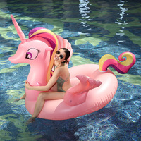 Giant Rainbow Unicorn Pool Float 160cm Pegasus Horse Women Swimming Ring Ride on Water Float Swimming Fun Toys For Adult And Kid