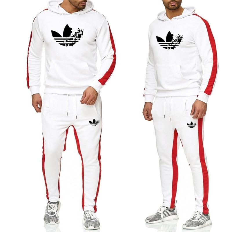 2019 Männer Hoodie/sweatshirt Mode Casual Sport Pullover Baumwolle Hoodie Zwei-stück Set + Hosen Sport Casual Mode Set