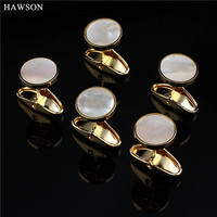 Luxury Mother Of Pearl Cufflinks Studs Tuxedo Shirt Jewelry Fashion Round Button Studs Wholesale Available