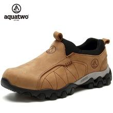 2017 New Men Trekking Shoes Aquatwo Brand Winter Full Grain Leather Slip On Khaki Lt Brown Outdoor Shoes US6.5-13.5# Shoes Men