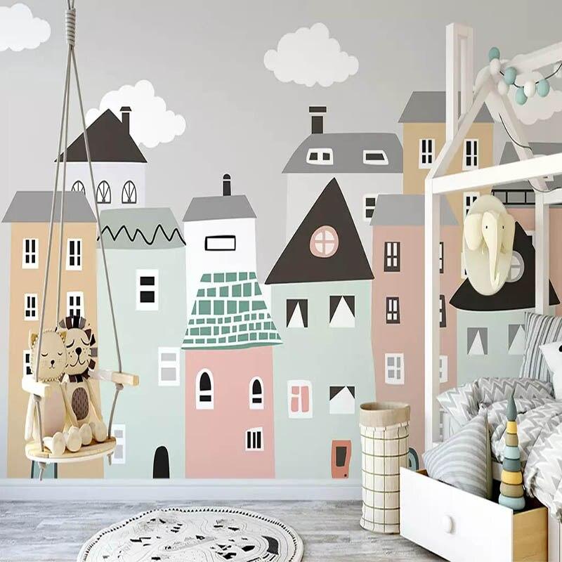 Papier Peint Mural Personnalise Pour Chambre D Enfants Peint A La Main Petite Maison Chambre D Enfants Chambre Papier Peint Decoratif Peintures