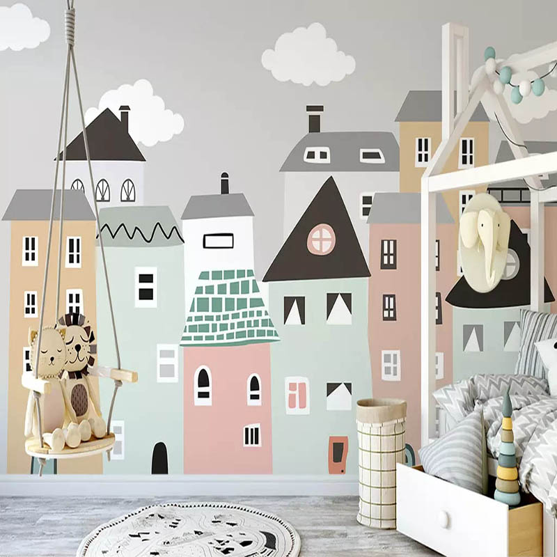 Personalizado mural papel de parede para sala de crianças pintados à mão pequena casa crianças quarto decorativo murais