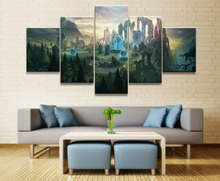купить League of Legends Map Game 5 Pieces Home The Wall Art Paintings Canvas Wall Art Living Room Modern HD Print Painting Artwork по цене 362.99 рублей