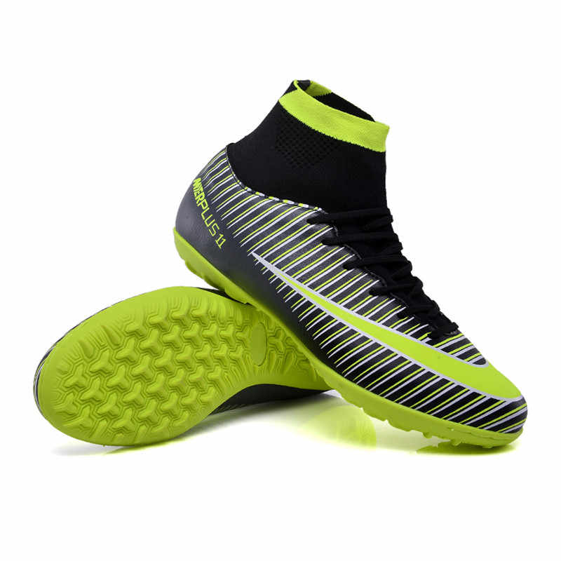 8f5c2aeb5 ZHENZU Men s High Ankle Turf Sole Indoor Football Boots Shoes Superfly Soccer  Cleats Sneakers EU size