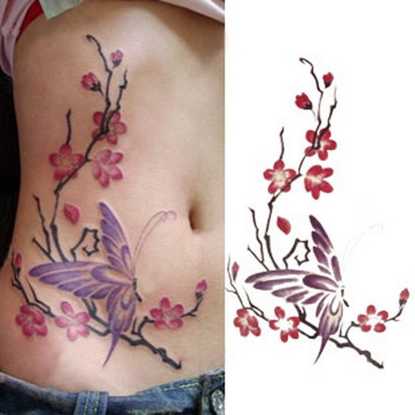 Plum Blossom Butterfly Sexy Lower Back Shoulder Neck Arm Waterproof