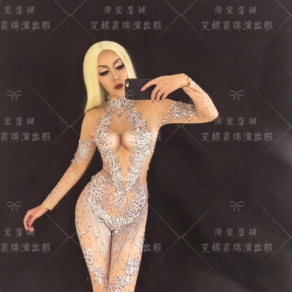 WOMEN NEW Silver Sparkly Crystals Jumpsuits long Sleeves Big Stones Bodysuit Performance Party Celebrate Shining Costume Wear