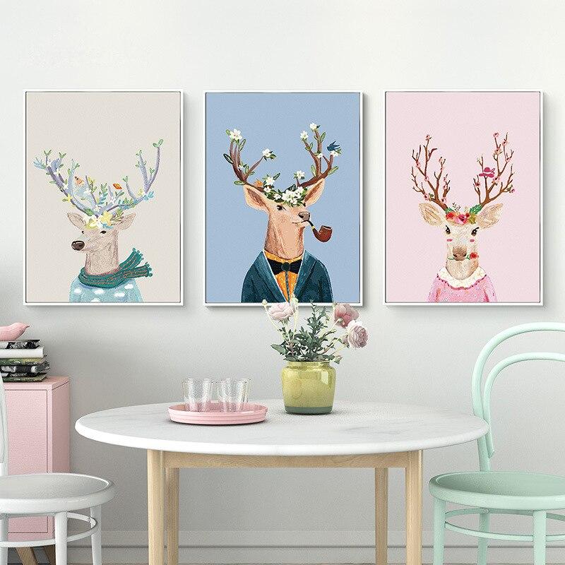 Belle main libre animaux créatifs tenture murale cadres Photo ensemble 3 pièces/ensemble cadres Photo canapé décor à la maison mur cadres Photo ensemble