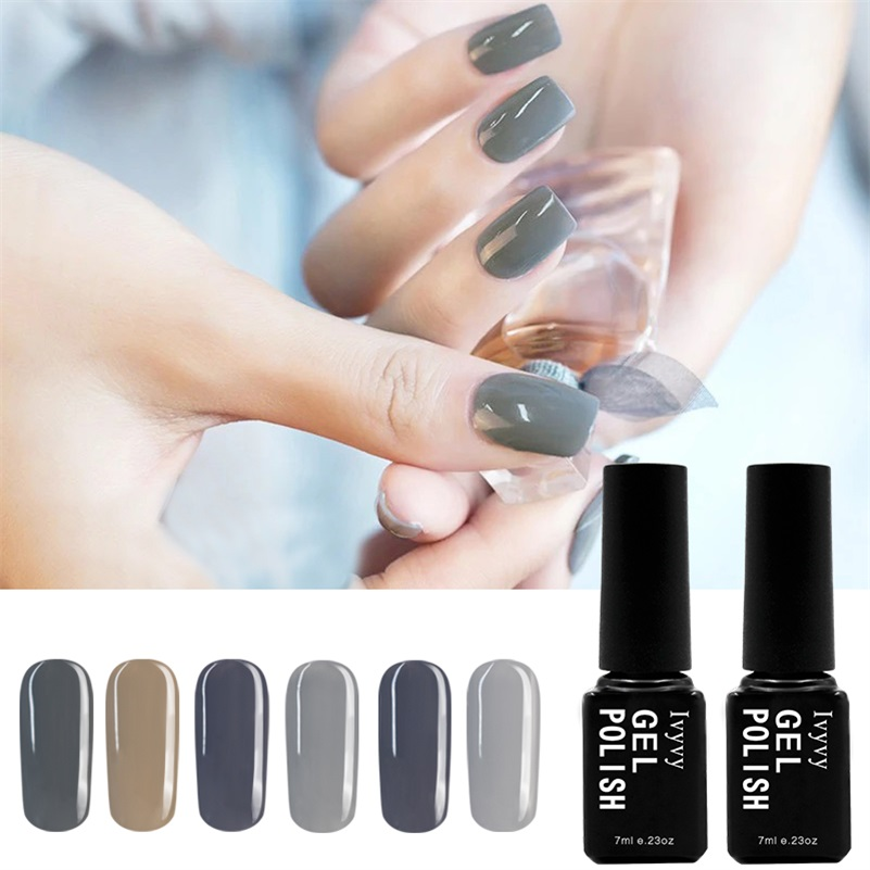 6 Colors Grey Series + 1 Top Coat + 1 Base Gel Nail UV Gel Polish lacquer Soak off Gel Professional Kit Cosmetics semi permanent 12pcs lot green series uv gel nail polish led lamp gel lacquer gel polish vernis semi permanent gel varnish nail primer base top