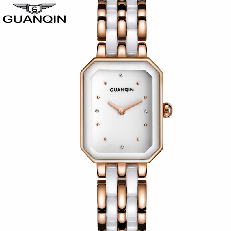 Small Dial Ceramic Rectangle Women Watches GUANQIN Quartz Watch Rose Gold Ladies Casual Bracelet WristWatches relogio feminino natural brand new gold ceramic watches shell white dial water resistant rose crystal ladies bracelet watch fw830v free gift box