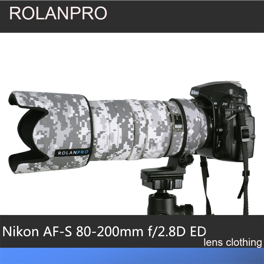 ROLANPRO Lens Camouflage Rain Cover for Nikon AF-S 80-200mm f/2.8D ED Lens Protective Case Guns Clothing SLR Cotton Clothing сумка easycover discovered nikon d7100 d7200 camouflage