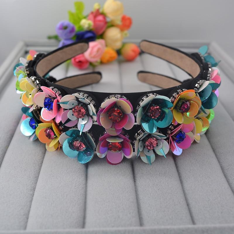 2016summer fashion ShanZuan flower bride Hair accessories retro baroque colorized sequined flower rhinestone hairband wholesale