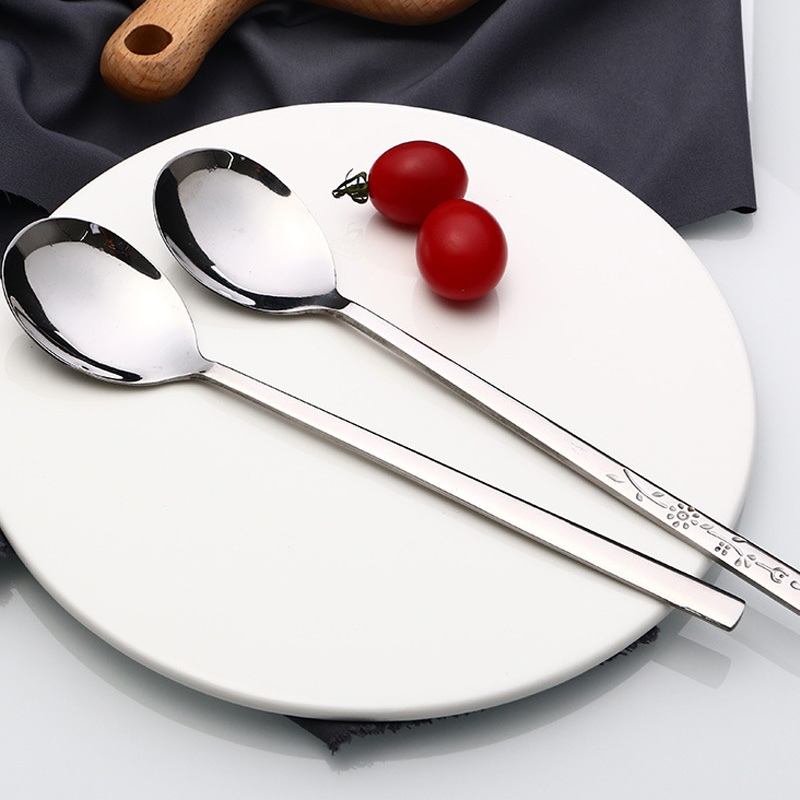 200pcs Stainless Steel Delicate Long-handled Students Stirring Korean Lovely Spoons Long Handled Tableware Icecream Spoon