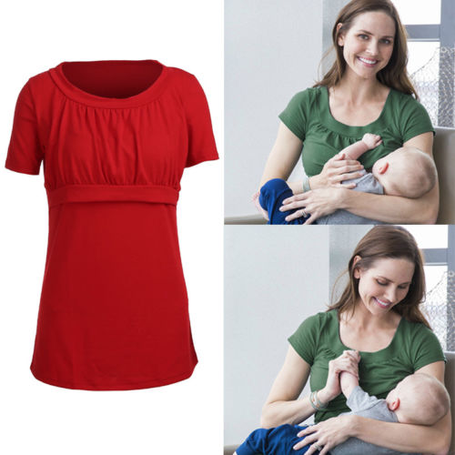 Hot Maternity Pregnancy Nursing Breast Feeding Shirts Top Women Solid Short Sleeve T-shirt Clothing short sleeve lace panel top