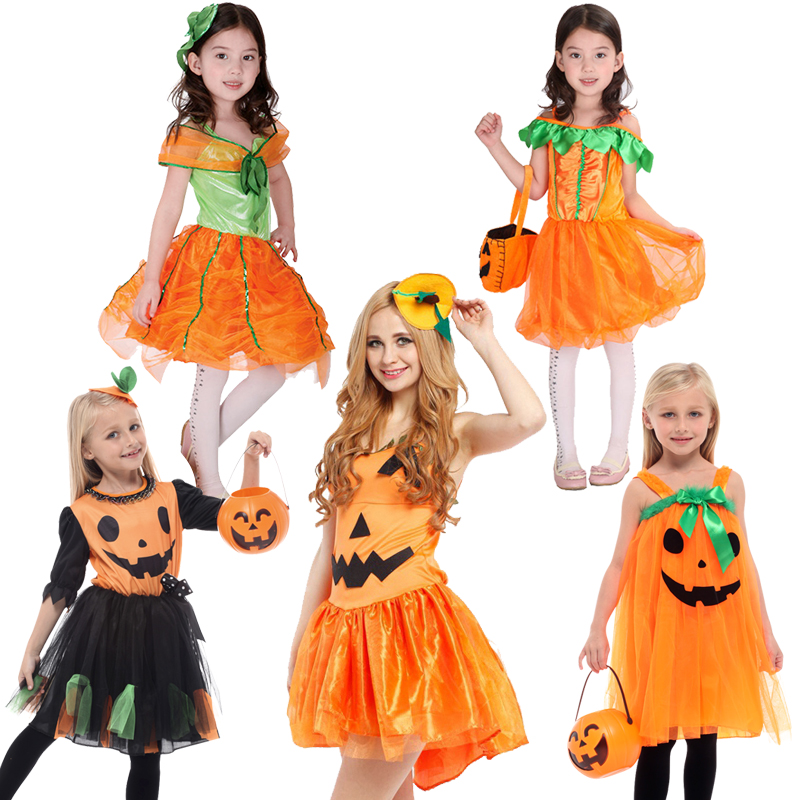 Halloween Princess Costume Pumpkin Witch Cosplay Dress Up Children Clothes Baby Girls Party Dress Kids Clothing 3-12Year