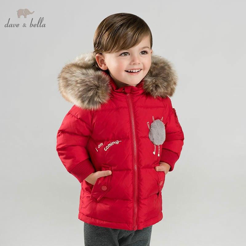 DBM9244 dave bella baby boy Down jacket children 90% white duck down outerwear fashion red coat altair city boy 18 2016 white red