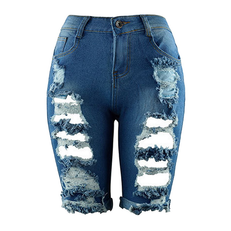 WENYUJH Sexy Women Summer Elastic Hole Short Pants Denim Shorts Half Ripped Zip Fly   Jeans   Trousers 2019 High Waist Drop Shipping