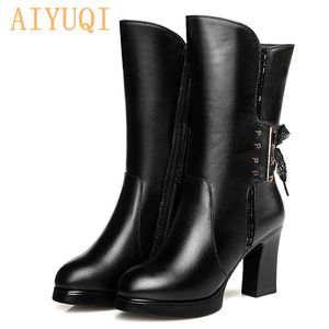Image 2 - AIYUQI 2020 new genuine leather women boots size 40 wool women genuine winter boots High heeled motorcycle boots women