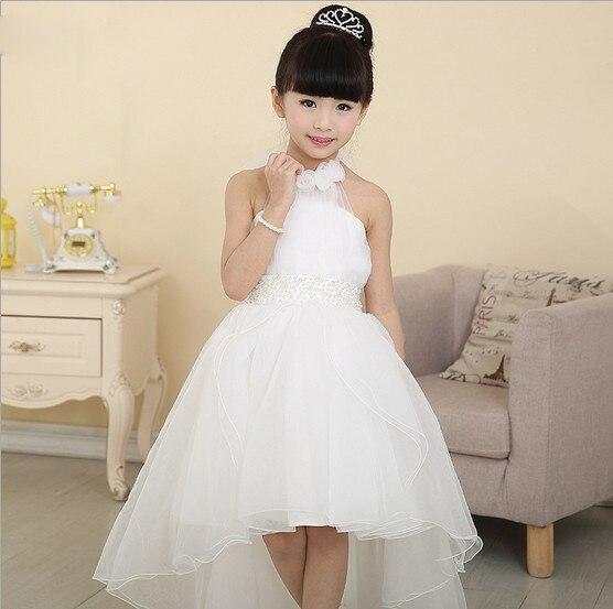 White Lace Irregular Baby Girl Dress Children Ball Gown Princess Dresses Wedding Birthday Party Kid Vestidos