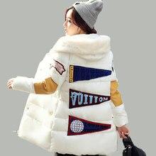 Зимняя женская куртка, воротник, карман, длинное пальто, патч, новинка, утолщенная, повседневная, тонкая, с капюшоном, свободного размера плюс, XXXL, парка, AE1574