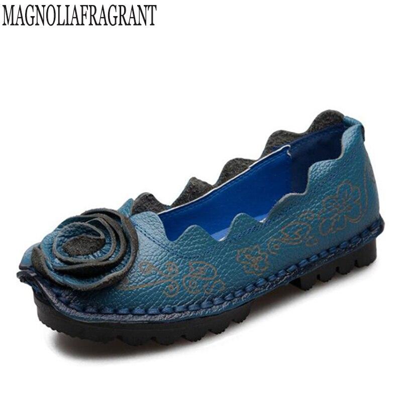 Mujer Conducción Suave Hechas Auténtico Mocasines Mano Calzado K146 A 2 Pisos Madre Mujeres 3 Cuero Zapatos Flores Nuevas 5 4 Ocio 1 wFz7qW