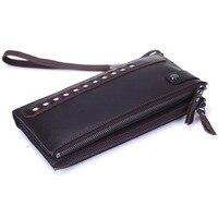 New Business Men Wallets Long Zipper Male Wallet Genuine Leather Wallet Men Purses Wallet Male Clutch